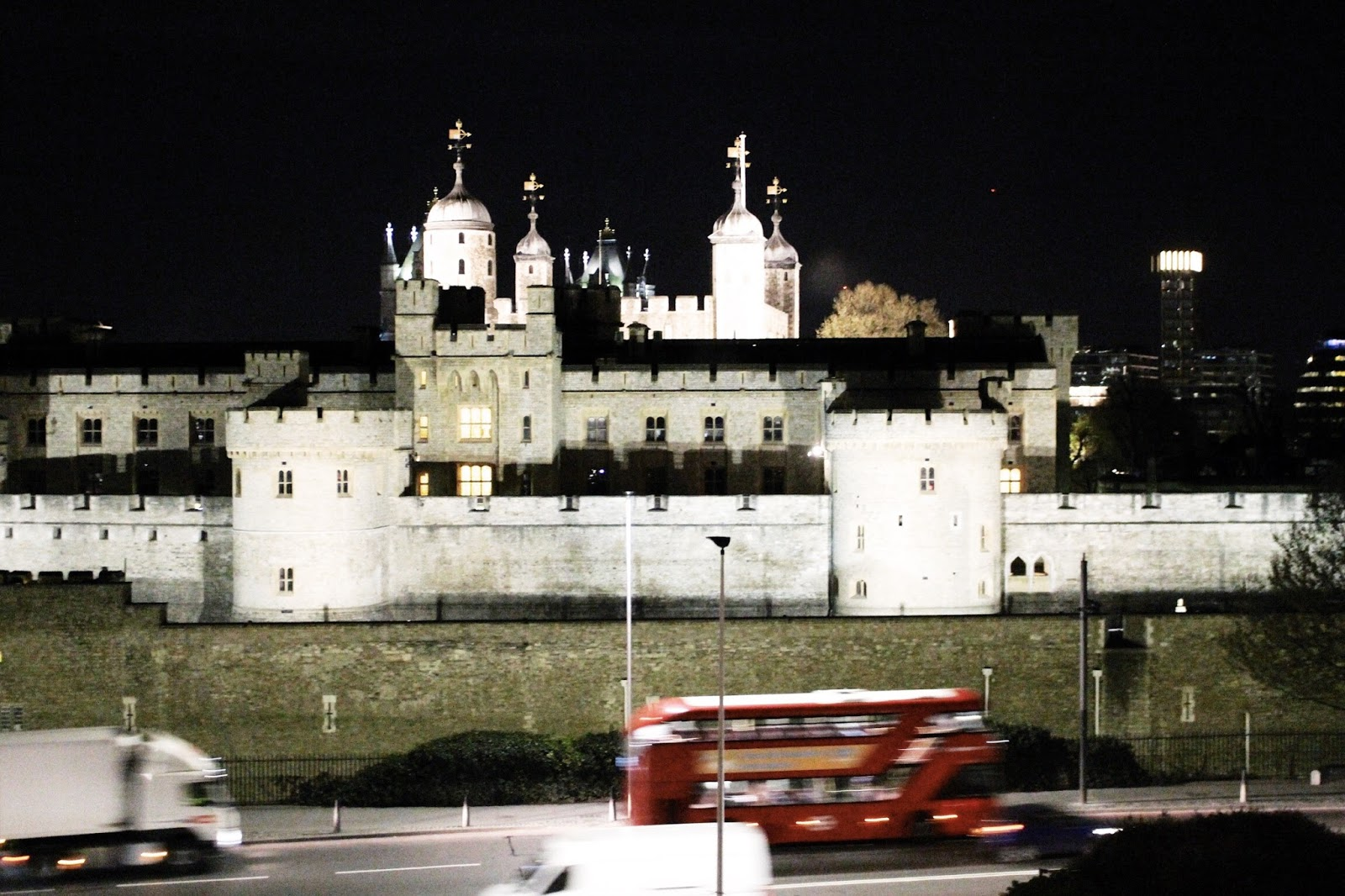 Historic Tower of London Lit Up at Night