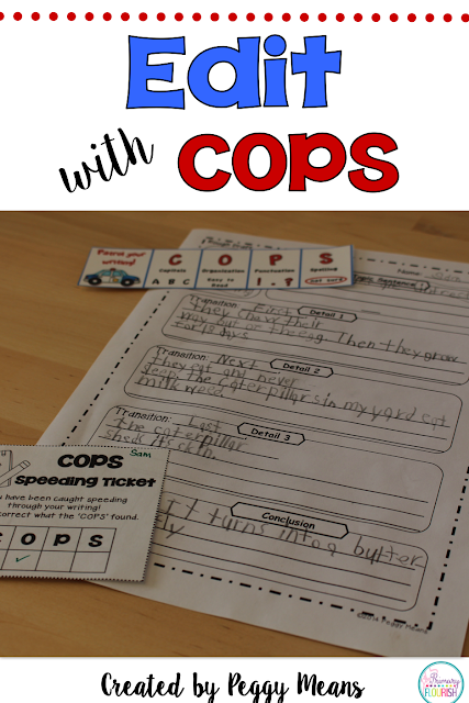 "Editing writing will be a joy for your students with Edit Writing with COPS!  It is an engaging, effective way for students to remember to edit their writing!  ""Patrol Your Writing with COPS!""  May easily be used for: self, peer, or teacher editing. I post these on my Writing Focus Wall and the students glue the bookmarks in their writing folders."