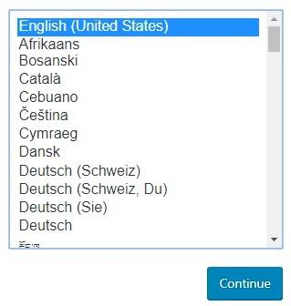 Pilihan bahasa yang digunakan untuk menginstall wordpress