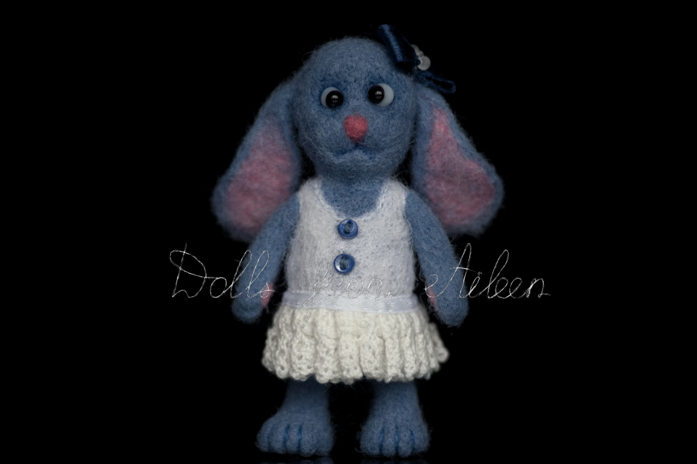 blue ooak needle felted bunny, front view