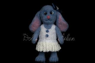 blue ooak needle felted bunny
