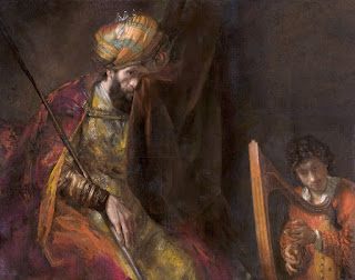 Saul and David circa 1660, painting by baroque artist Rembrandt Van Rijn, regarding Bible story of David and Goliath
