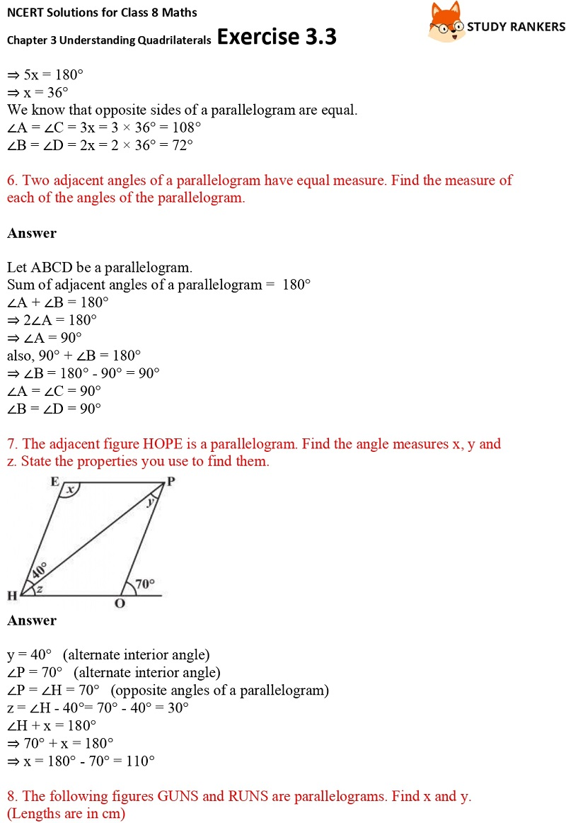 NCERT Solutions for Class 8 Maths Ch 3 Understanding Quadrilaterals Exercise 3.3 4