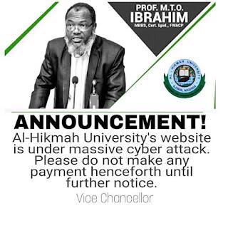 Al-Hikmah University Website Under Massive Cyber Attack - VC