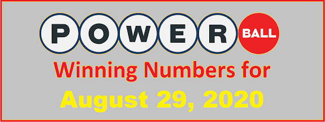 PowerBall Winning Numbers for Saturday, August 29, 2020