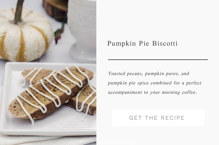 Traditional biscotti with a fall twist - Pumpkin Pie Biscotti includes pumpkin puree, spices, and toasted pecans.