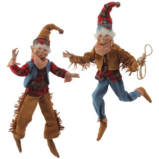 Cowboy Christmas elf figures