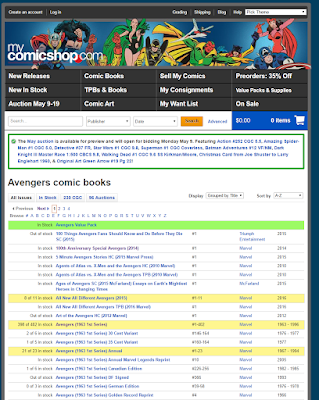 Screen Capture of mycomicshop.com Website