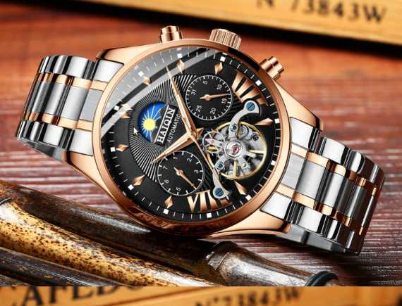 HAIQIN men watch automatic mechanical luxury sport wristwatch