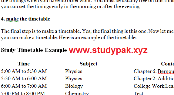 fsc students timetable example template