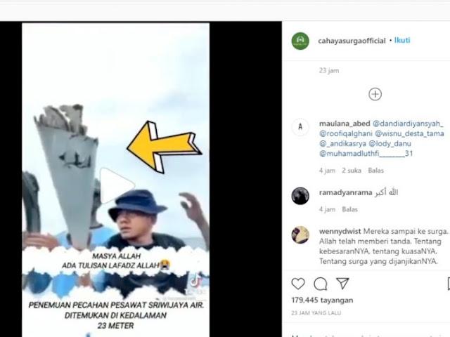 Viral Goresan Mirip Lafadz Allah di Penemuan Serpihan Badan Pesawat Sriwijaya Air SJ182