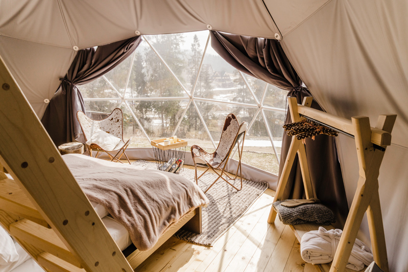 Luxurious glamping tents in the Tatra Mountains