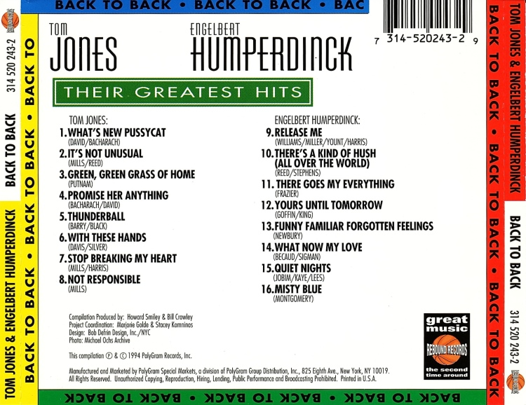 Cd TOM JONES AND ENGELBERT HUMPERDINCK - BACK TO BACK Back%2Bto%2BBack%2B-%2BTrasera