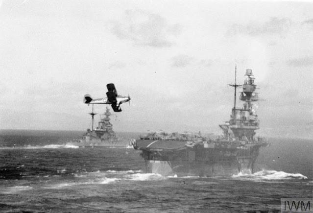 HMS Eagle retrieving planes, 1 April 1942 worldwartwo.filminspector.com