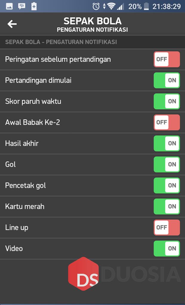 Notifikasi Pada Aplikasi FlashScore