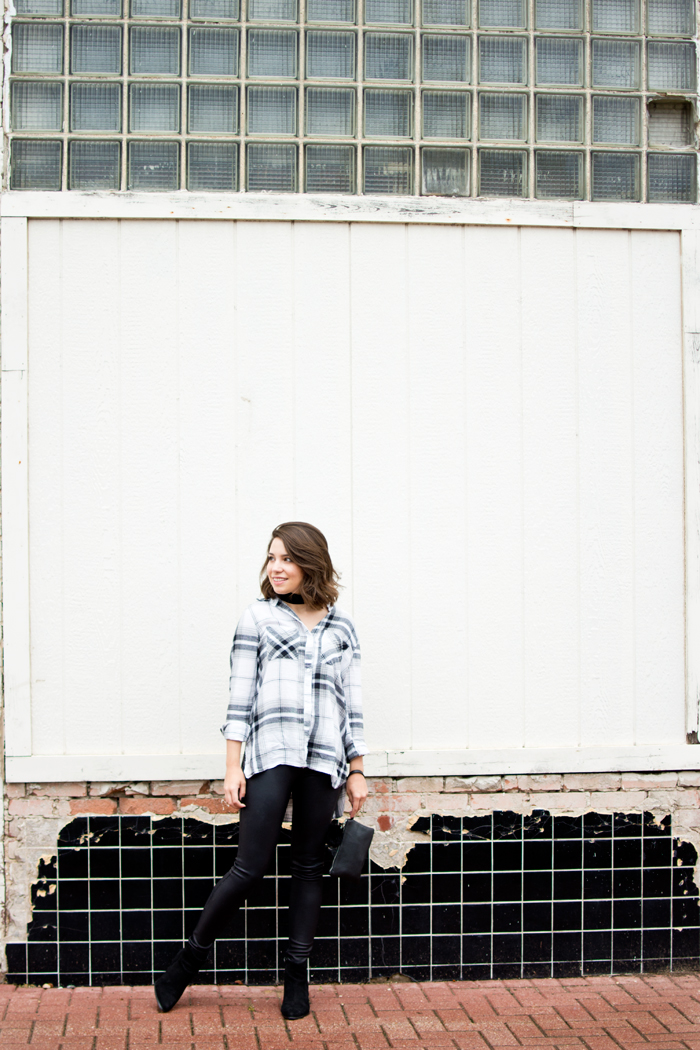 Leather and plaid fall outfit