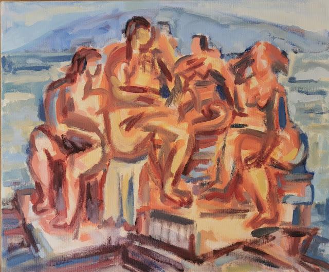 Figurengruppe in T., Acryl auf LW, 50x60cm, SK 2020