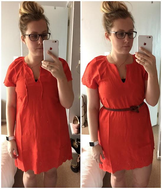 Linen-Blend Cutwork-Embellished Shift Dress for Women