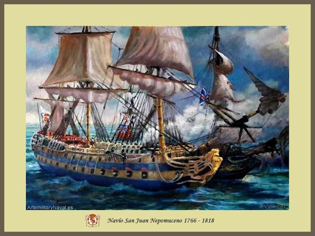 Óleo navío San Juan Nepomuceno en la Guerra de Independencia de los Estados Unidos