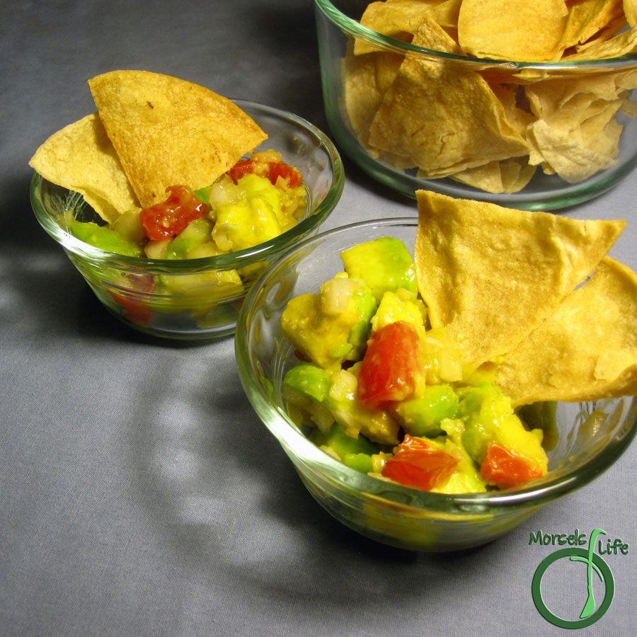 Morsels of Life - Guacamole, Version 1.0 - Avocados, mixed with onions and tomatoes, and kicked up with a bit of spice.