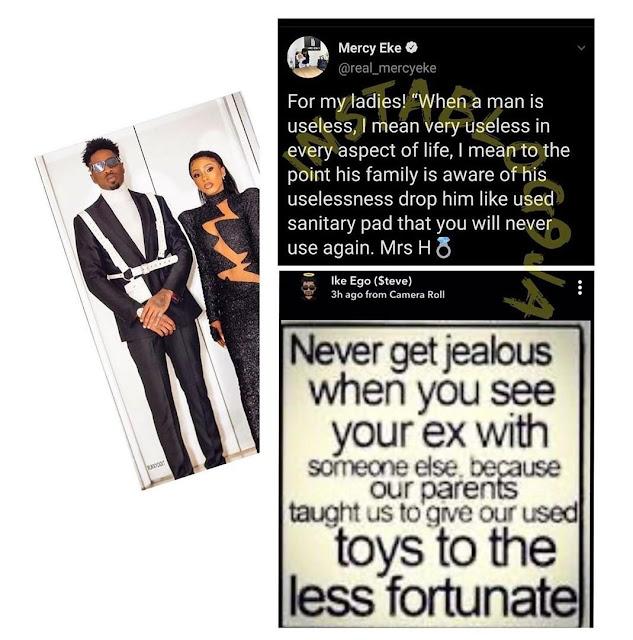"""When a man is useless, drop him like a used sanitary pad"" – Mercy Eke shades Ike"