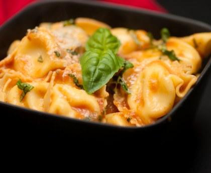 Beef ravioli with tomato sauce
