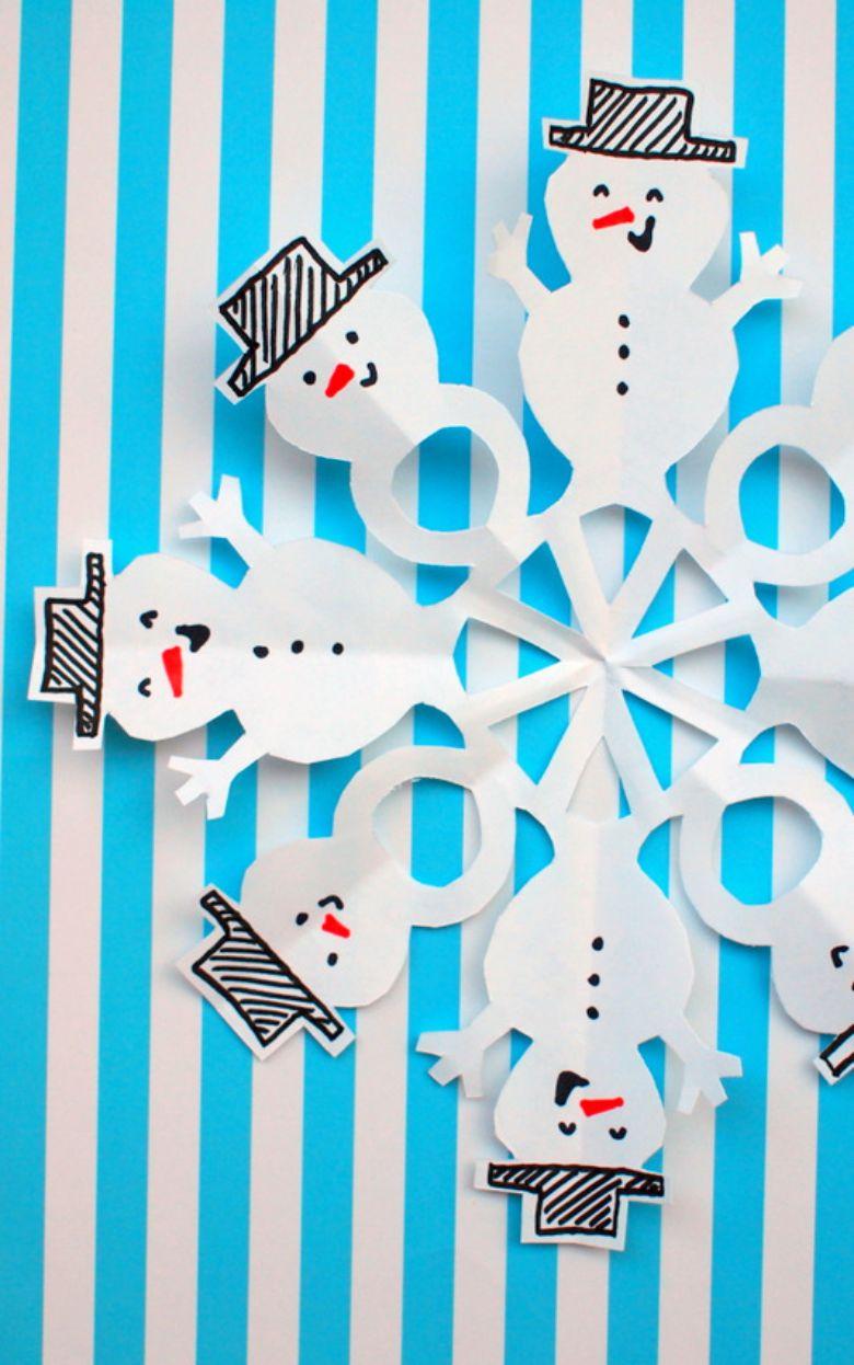 paper snowman snowflakes craft