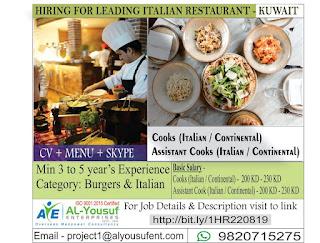 Italian Restaurant Required for Kuwait
