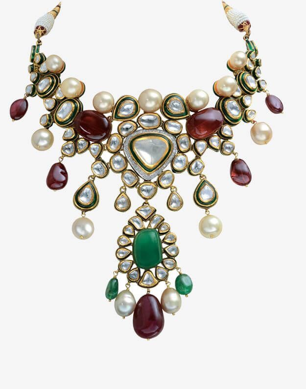 Emerald Polki Choker with Precious Beads