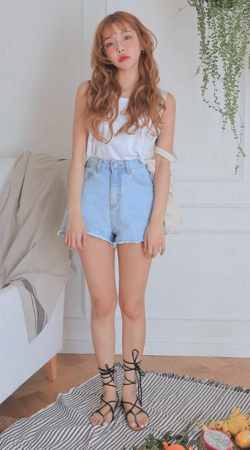 High-Rise Raw-Edged Denim Shorts