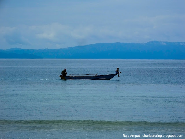 white sandy beach in tropical island of Waigeo