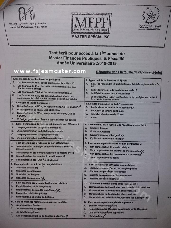Exemple Concours Master Finance Publique et Fiscalité 2018-2019 - Fsjes Agdal