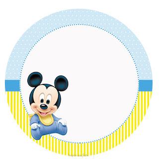 Toppers o Etiquetas de Mickey Bebé en Celeste y Amarillo para imprimir gratis.