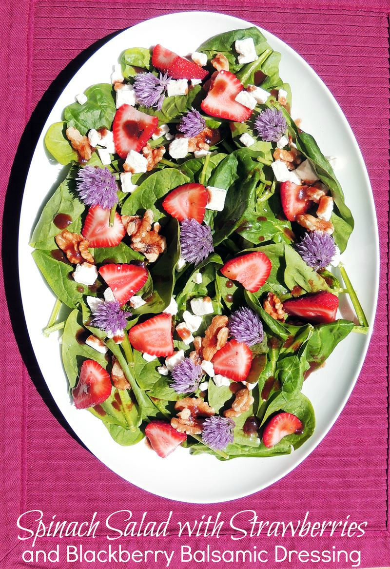Spinach and Strawberry Salad with Blackberry Balsamic Vinaigrette from www.bobbiskozykitchen.com