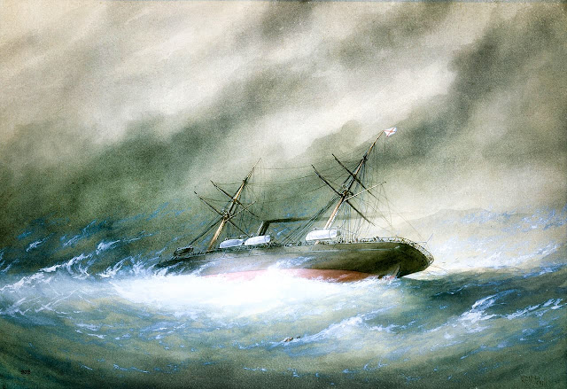 Wreck of the Royal Mail Rhone by William Frederick Mitchell (Source National Maritime Museum, Greenwich)