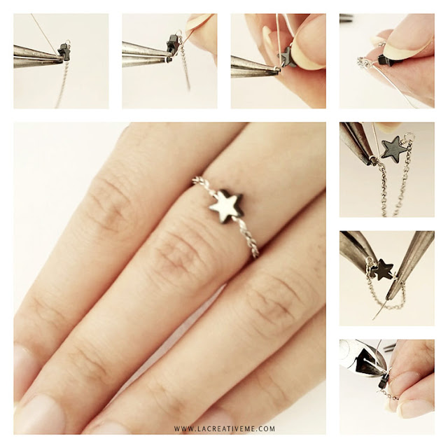 DIY Chain Star Ring