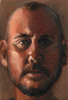 Oil painting of the face of a middle-aged man with a shaved head and a beard.