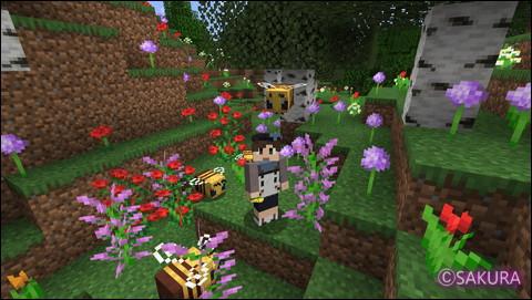 Minecraft 花の森でミツハチと戯れる