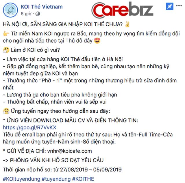Theo tiết lộ từ fanpage, cứ điểm đầu tiên của KOI Thé tại thủ đô sẽ đặt tại quận Hà Đông, tuy nhiên địa chỉ và thời gian khai trương cụ thể vẫn chưa được tiết lộ. Dù lượng thông tin đưa ra không nhiều nhưng Koi Thé Việt Nam vẫn làm các fan hâm mộ trà sữa của Hà Nội không khỏi mong chờ háo hức.