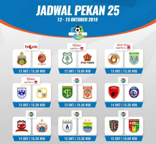 Jadwal Liga 1 Sabtu 13 Oktober 2018. Siaran Langsung Indosia & Streaming