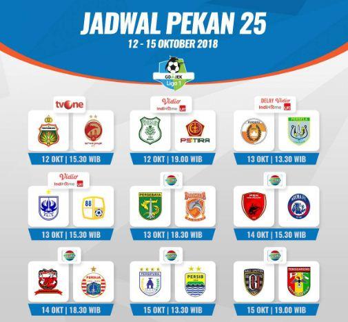 Jadwal Lengkap Liga 1 Pekan 25