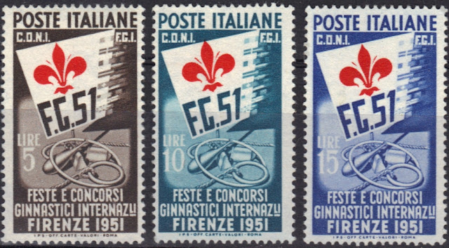"Italy - ""Ginnici""   1951 - Symbols of the International Gymnastic Festival and Meet"