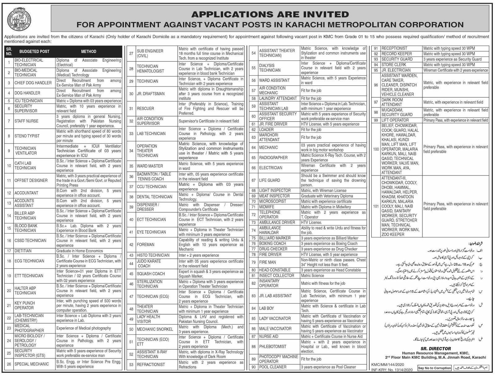 Jobs in Karachi Metropolitan Corporation