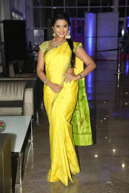 Manasa Latest Hot Glamourous Lemon Yellow Traditional Saree