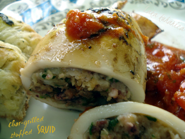 Char-grilled stuffed squid with tomato by Laka kuharica: char-grilled calamari are stuffed with tempting and aromatic stuffing.