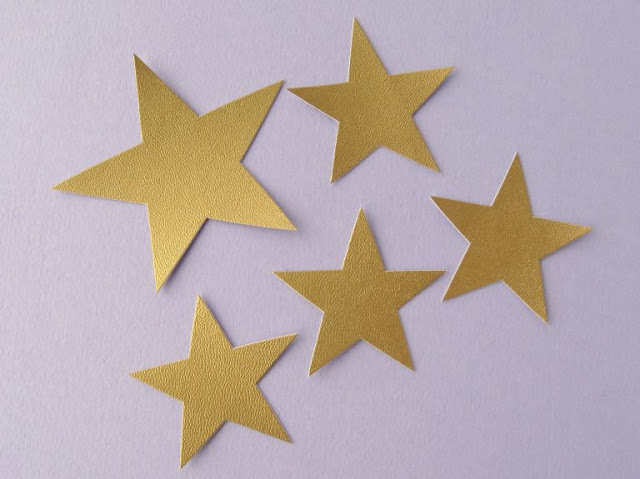 Gold metallic vegan leather stars