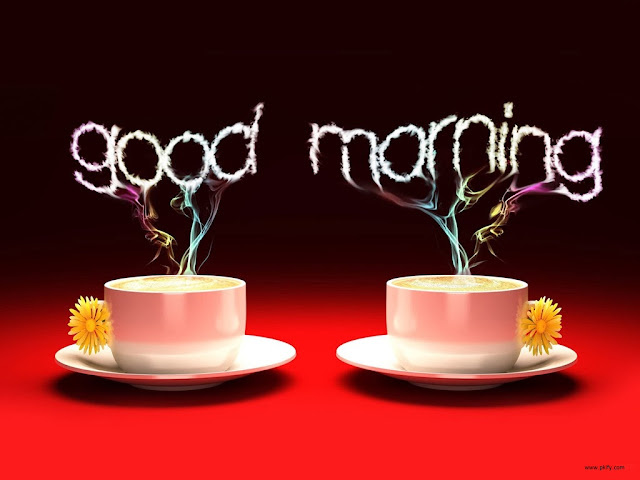 Good Morning With Two Cups Having Colorful Smoke HD Wallpaper