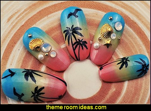 Black Palm Trees Nail Art Sticker Summer Nail Decals Full Nail Wrap Sea Gull French Manicure Nail Decorations