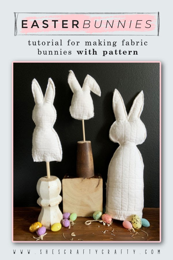 Pinterest Pin - DIY tutorial for making Easter Bunnies from fabric.