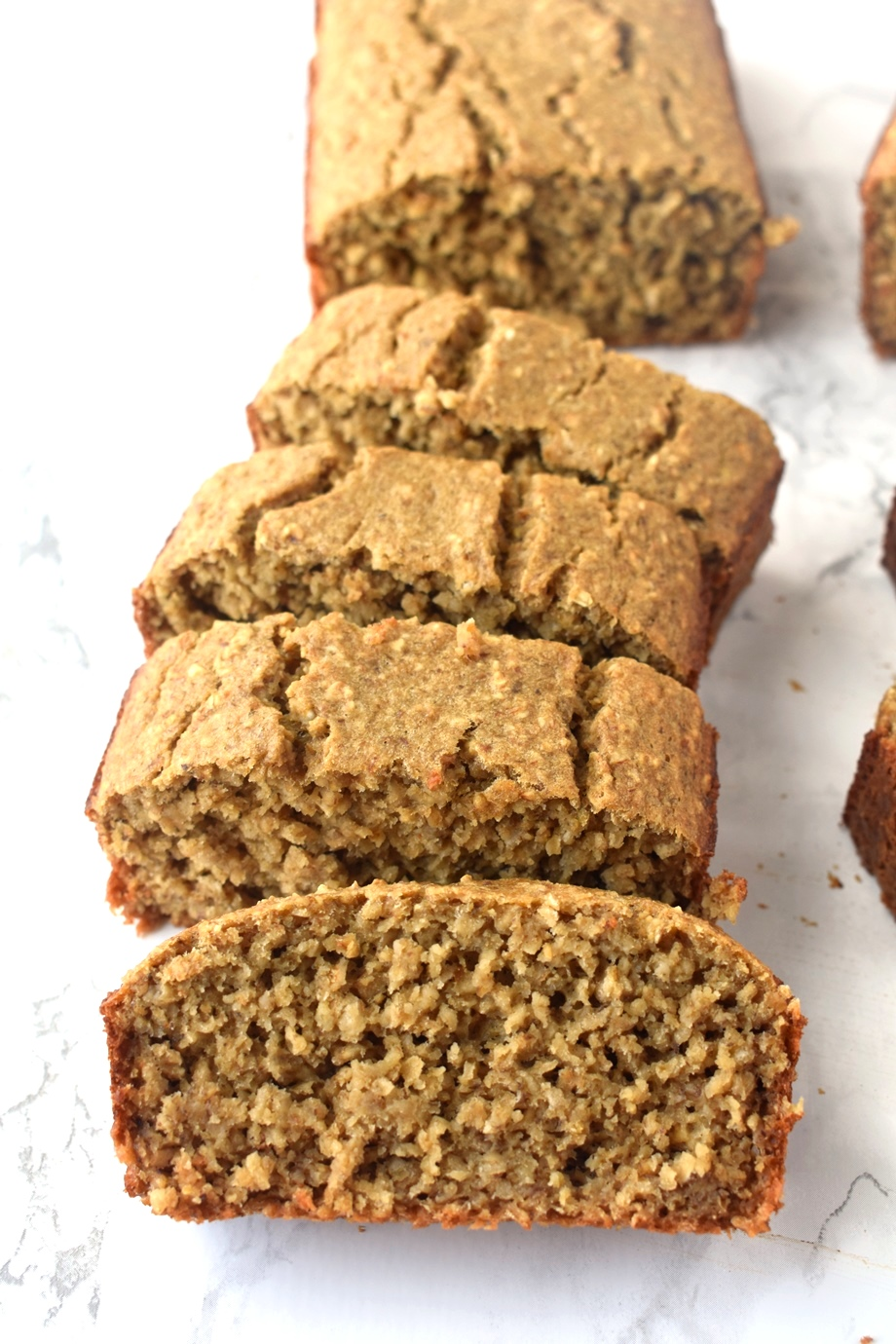 slices of 6 ingredient oatmeal banana bread